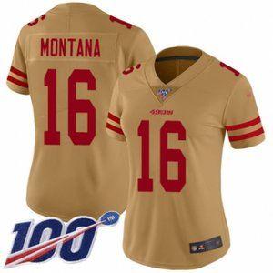 Women 49ers Joe Montana 100th Season Jersey (2)